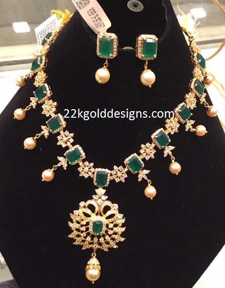 Emerald CZS Necklace with Pearl Drops