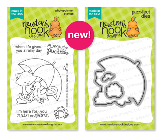 Cat with Umbrella and Duck | Newton's Rainy Day stamp set by Newton's Nook Designs #newtonsnook