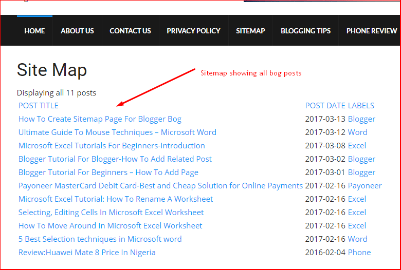 how to create sitemap page for blogger bog nairapoint tech blog