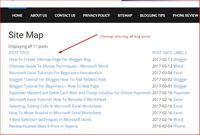 How To Create Sitemap Page For Blogger Bog