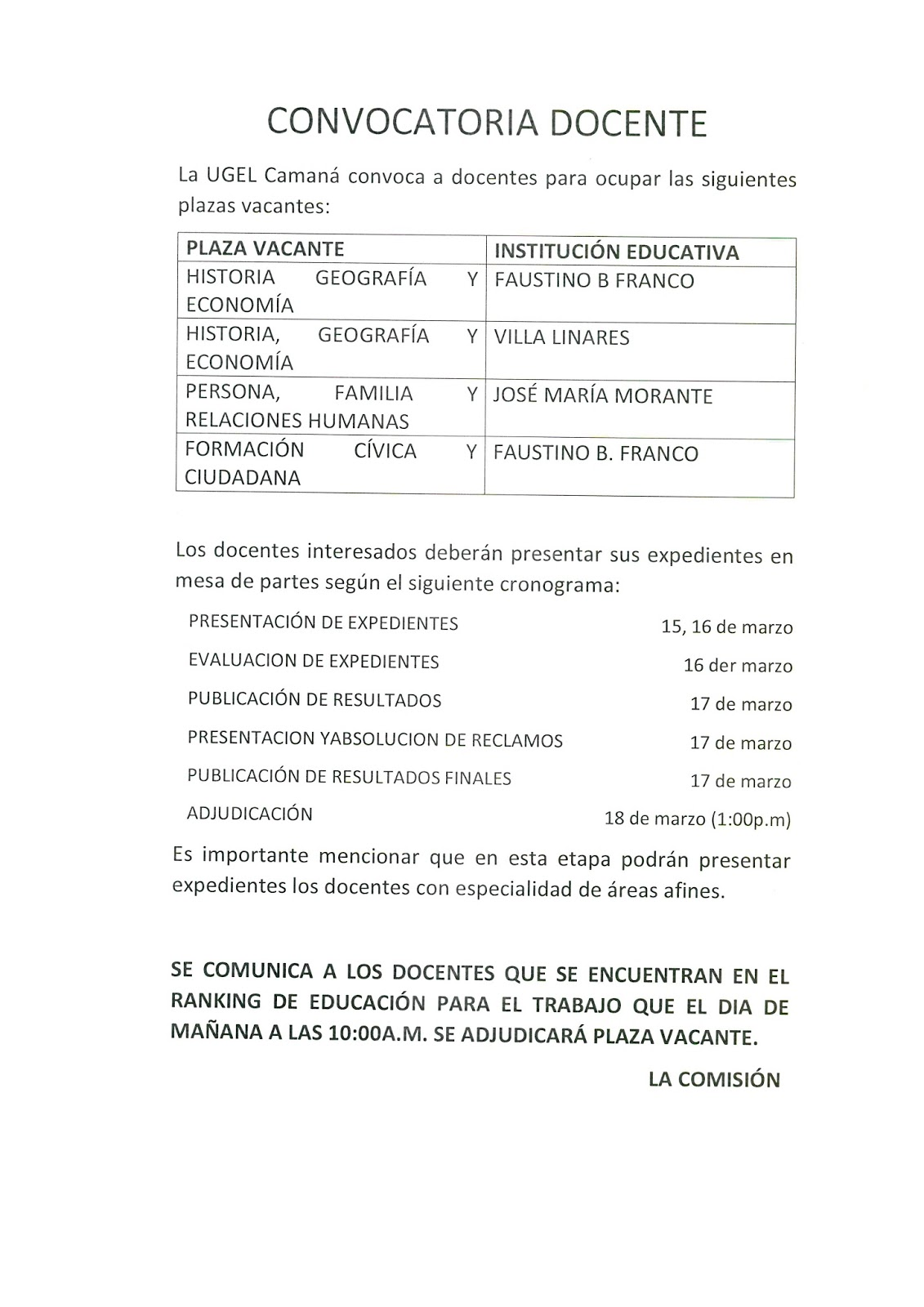 Convocatoria para contrato docente marzo 2016 ugel for Convocatoria para plazas docentes 2016