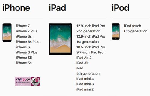 الأجهزة التي سيصلها تحديث iOS11