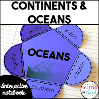 Continents & oceans interactive notebook activity