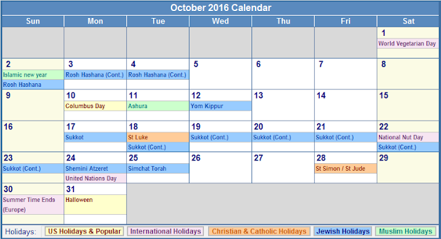 October 2016 Calendar with Holidays, October 2016 Calendar with Holidays USA, October 2016 Holiday Calendar USA, October 2016 USA Holiday Calendar