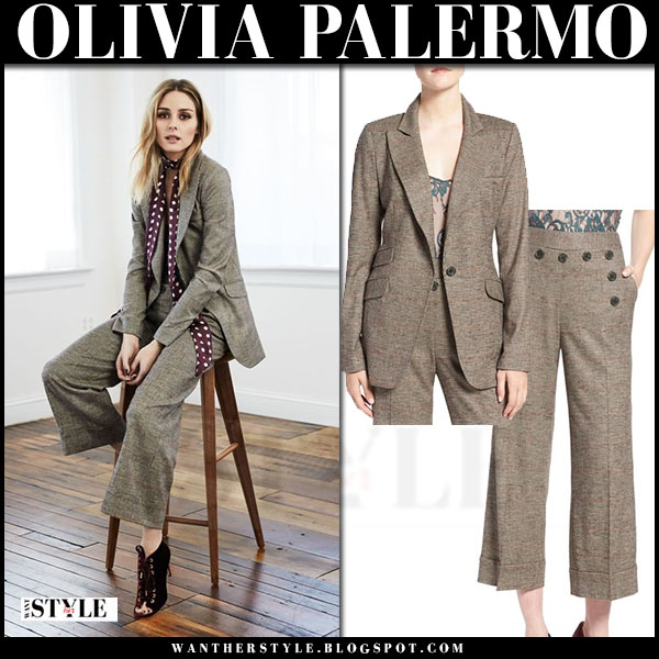 Olivia Palermo in beige plaid blazer and matching wide leg pants chelsea28 fall 2016 collection