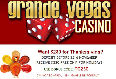 $230 Thanksgiving FREE CHIP from Grande Vegas Casino