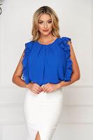 Bluza dama StarShinerS albastra eleganta cu croi larg din voal