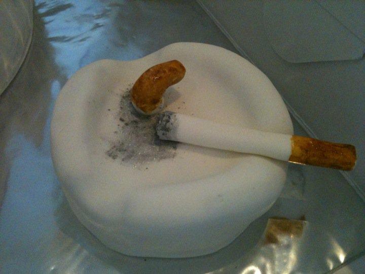 Tummy Full Of Yummy No Smoking Sign Cake