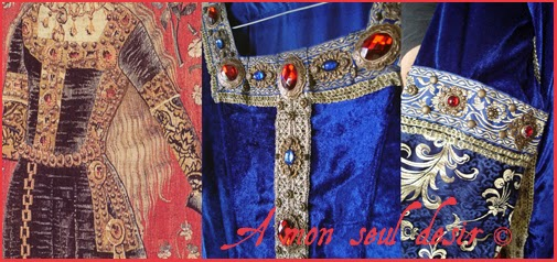 Robe médiévale en velours bleu de la tapisserie de la Dame à la Licorne / Medieval blue velvet Dress from the Lady and the Unicorn tapestry
