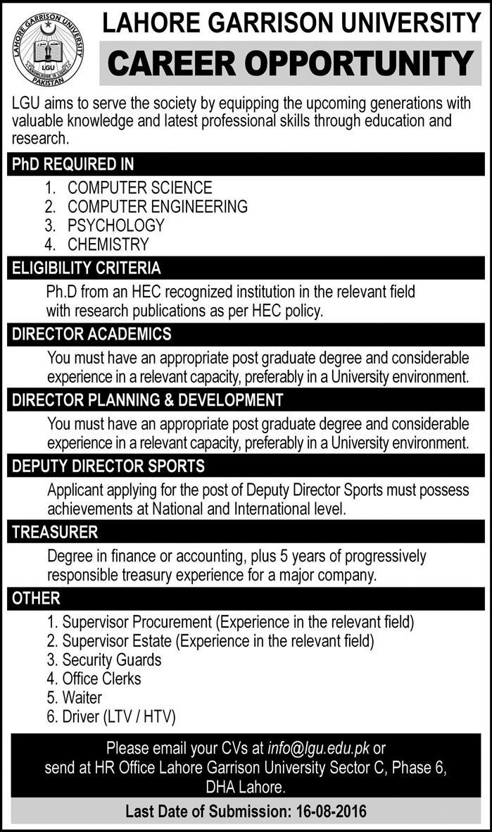 Teaching Faculty and Admin Jobs in Lahore Garrison University Jobs in Lahore 2016