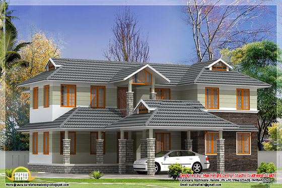 2500 square feet sloping roof house