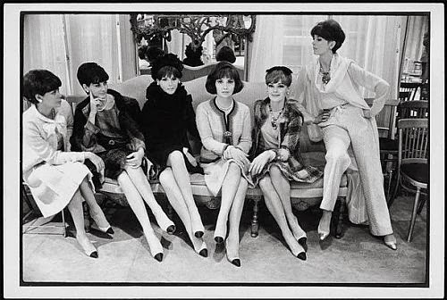 Chanel models wear two-tones hoes and suits, 1964