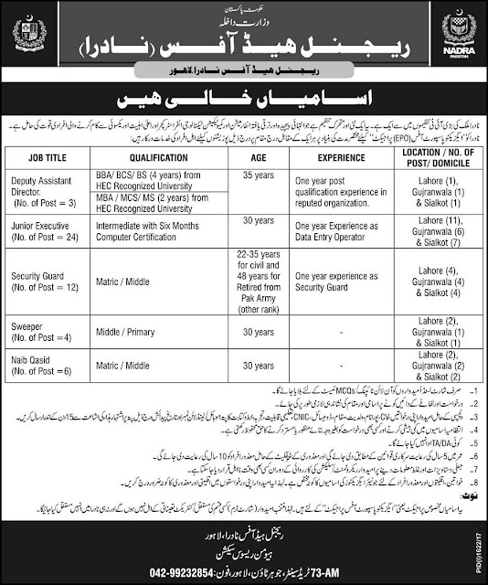 National Database & Registration Authority Jobs 2017
