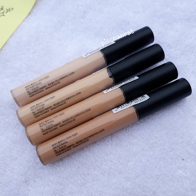 Althea Flawless Creamy Concealer    Instead of coming up with only 2 colors like other brands, Althea made 4 shades! Comes in- #01 Vanilla (Pink beige #21), #02 Ginger (Warm ivory #21), #03 Honey (Warm peach #23-#25), #04 Mocha (Deeper yellow #30)