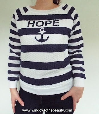 rosegal Argyle Anchor Letters Raglan Sleeve Striped Pullover Sweatshirt