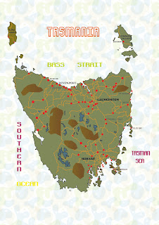 TASMANIA MAP TRACED WITH ADOBE iLLUSTRATOR