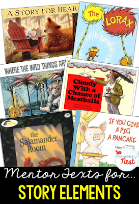 Primary mentor text suggested book list for Story Elements- RL1.3- teaching characters, setting, and events with literature