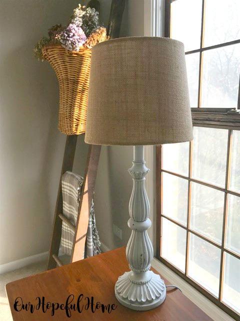 thrift store whilte lamp base
