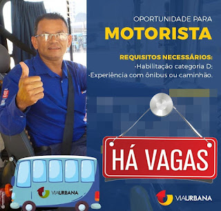 VAGA PARA MOTORISTA CATEGORIA D
