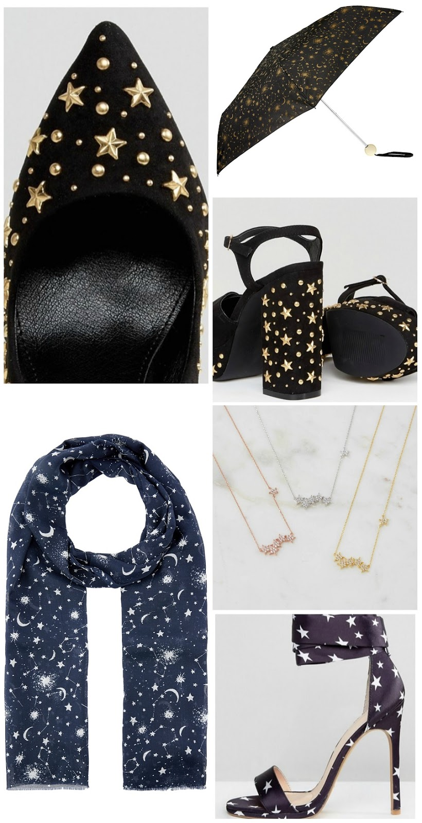 Constellation print accessories, star print shoes, celestial accessories, The Style Guide Blog