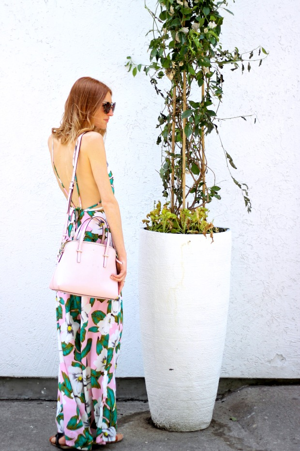 Pastels & Pastries blog; wildflower jumpsuit, miu miu sunglasses, kate spade blush cedar street maise