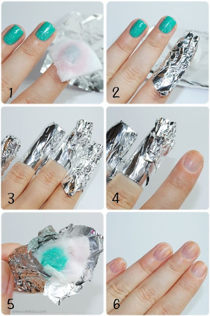 Use acetone to remove nail glitter polish