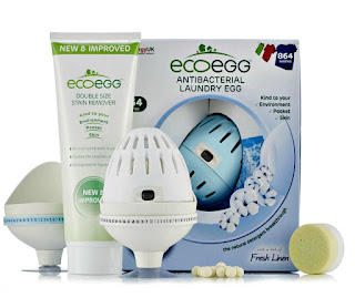White and blu ecoegg, holders, stain remover, and detox tablet