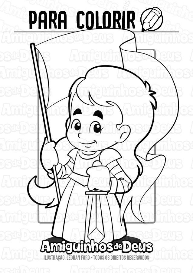 Santa Joana D'Arc desenho para colorir