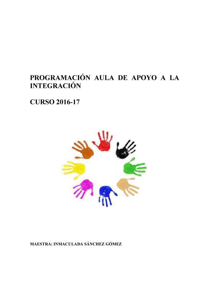 Programación aula de apoyo a la integración –  Inmaculada Sánchez Gómez