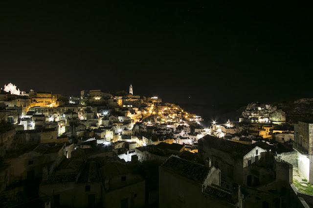 Foto notturne di Matera-Panorama