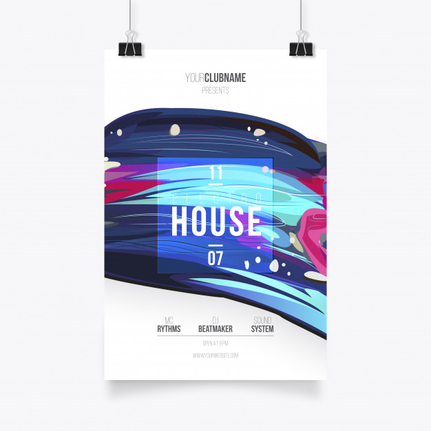 Paint Music Poster Template Free Vector