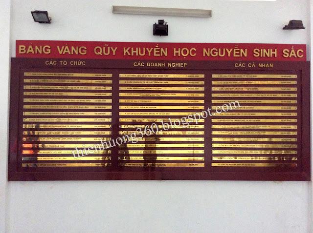 Bảng vàng quỹ khuyến học Nguyễn Sinh Sắc