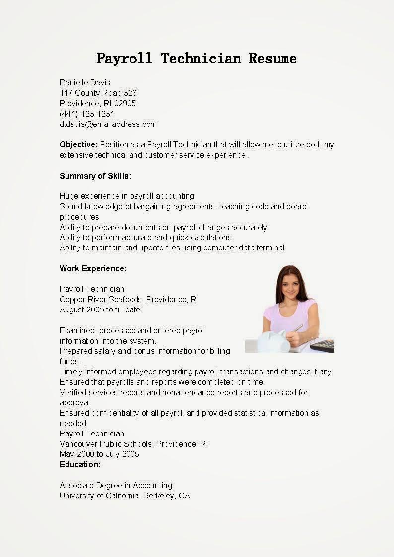 resume samples  payroll technician resume sample