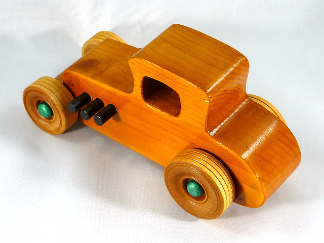 Top Left Rear - Wooden Toy Car - Hot Rod Freaky Ford - 37 T Coupe - Pine - Amber Shellac - Metallic Green Hubs