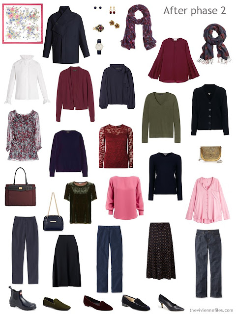 a navy-based autumn and winter wardrobe with accents of burgundy, pink and green