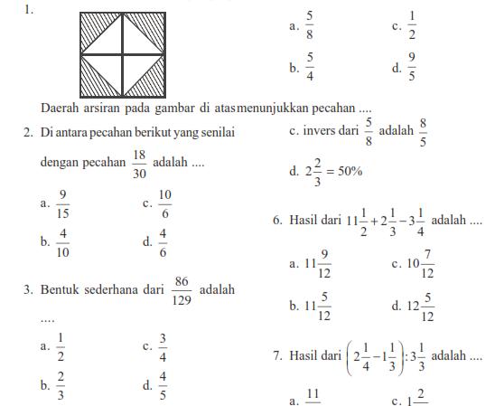 Soal Ulangan Matematika SMP Kelas 7 Bab Pecahan  Warung Education