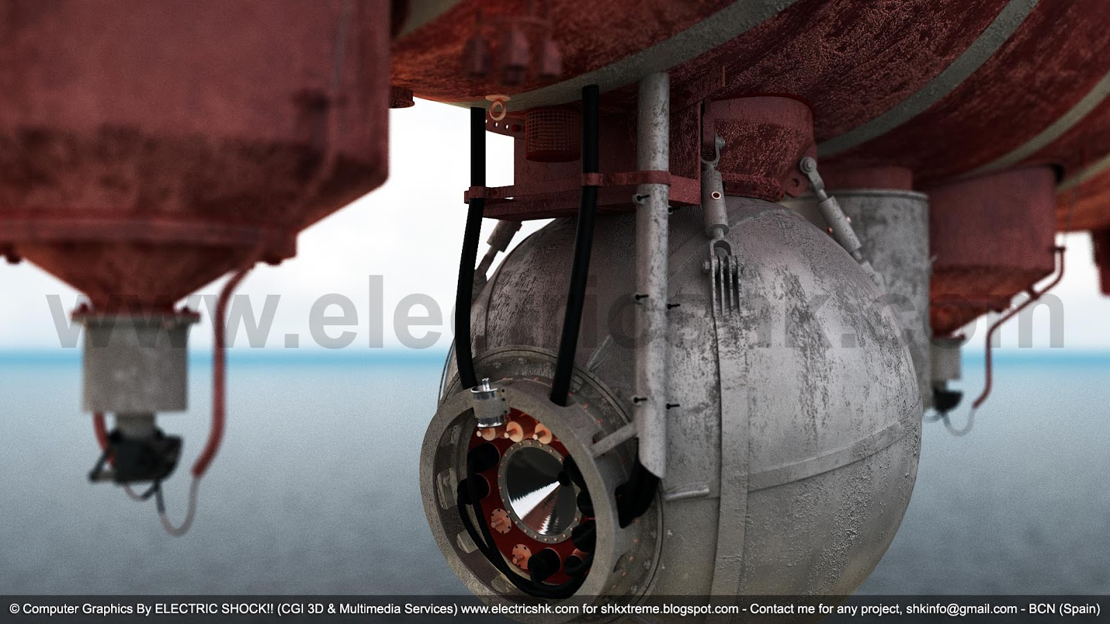 Vista perspectiva cercana Batisfera Batiscafo Trieste