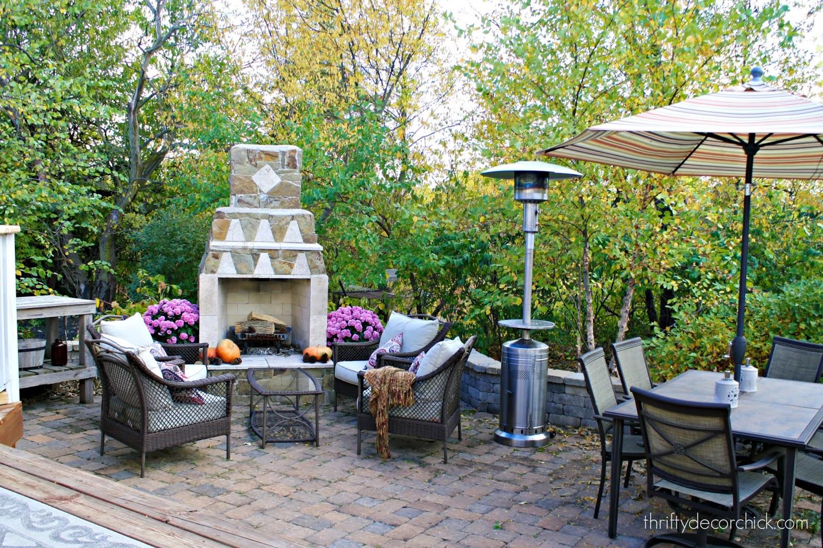 Paver patio with stone fireplace