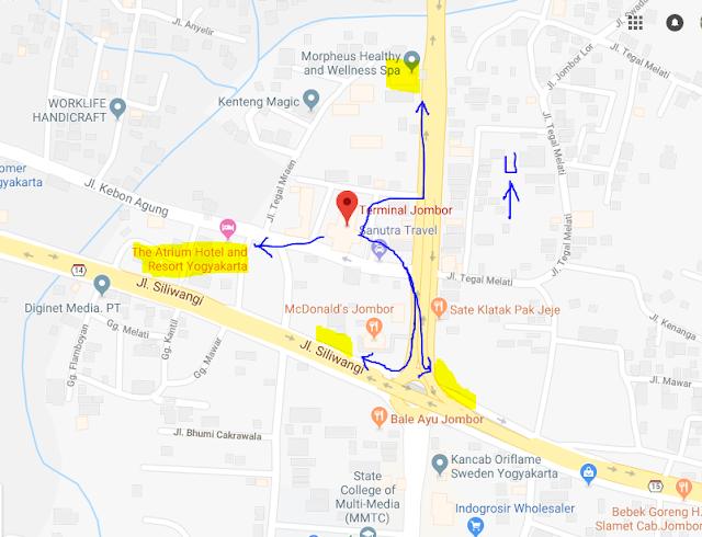 Titik Jemput Penumpang Ojek Online Gojek-Grab di Terminal Jombor Sleman Yogyakarta