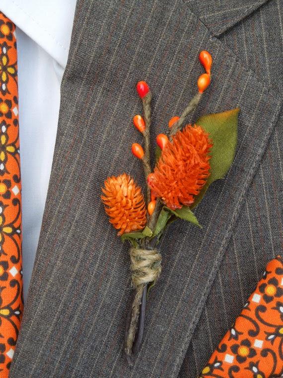rustic orange wedding boutonniere