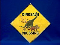 dinosaur crossing sign