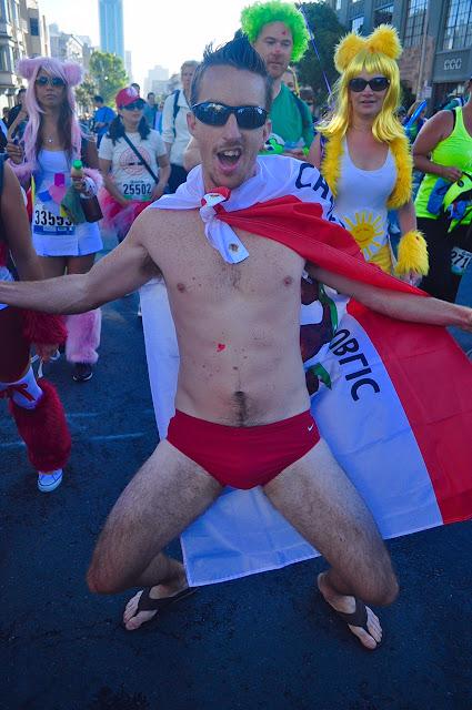 American man red underwear dancing Bay to Breakers San Francisco