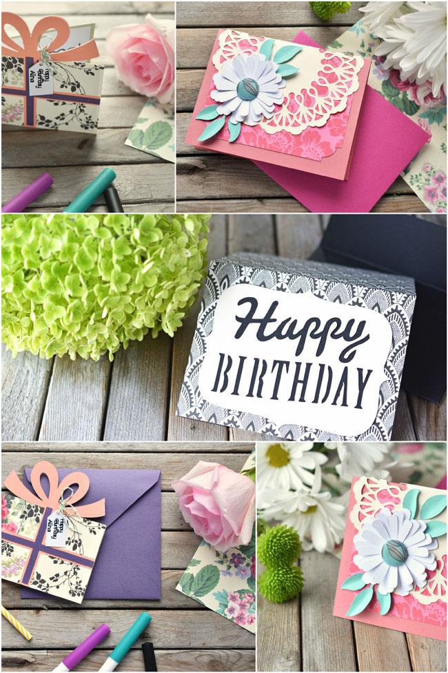 Make these beautiful cards with Cricut's new Anna Griffin patterned cardstock.