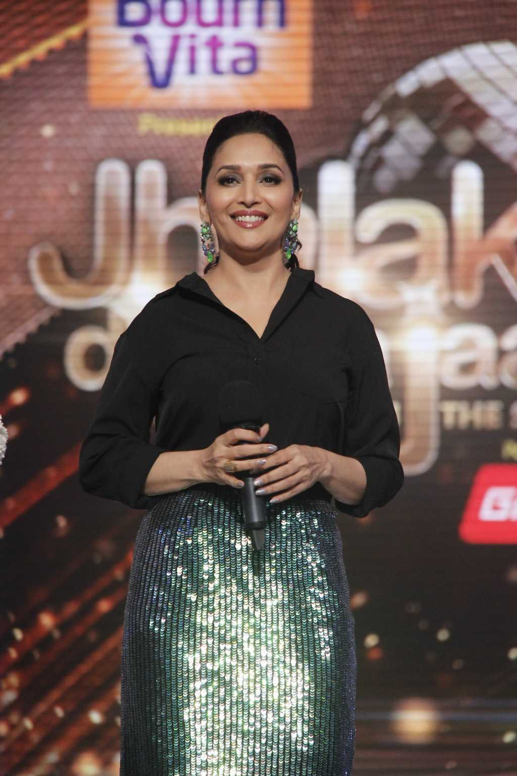 Glamours Bollywood Actress Madhuri Dixit Latest Stills In Black Dress
