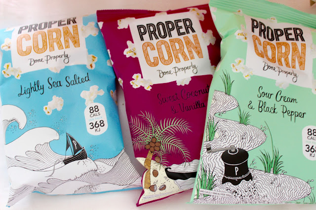 propercorn, Smooth Peanut & Almond, Fiery Worcester & Sun-Dried Tomato, Sweet Coconut & Vanilla, Sweet & Salty, Sour Cream & Black Pepper, Lightly Sea Salted,