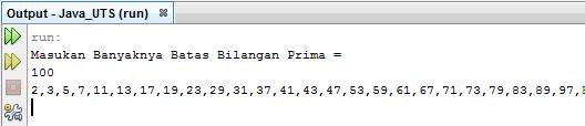 Source Code Java Netbeans Menentukan Deret Bilangan Prima dengan Batas