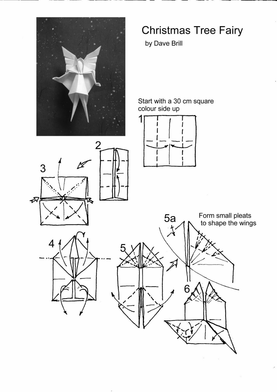 Christmas Origami Flower Diagram Spark Plug Conversion Chart Tree Fairy Paper Guide