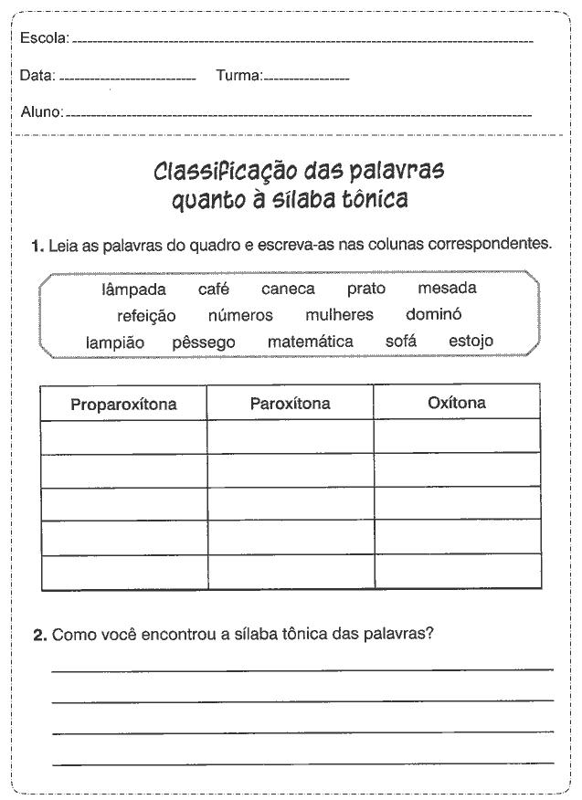 Atividades De Portugues 4 Ano So Escola