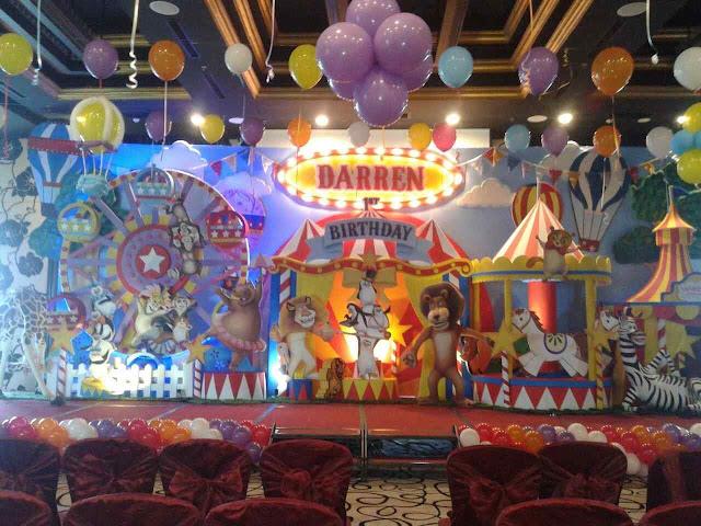 Dekorasi backdrop ulang tahun anak 3 dimensi tema circus