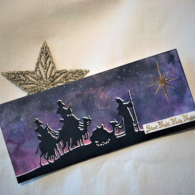Sara Emily Barker https://sarascloset1.blogspot.com/2018/12/silent-night-holy-night.html Silent Night Holy Night Christmas Card Tim Holtz Sizzix Alterations Wise Men 1
